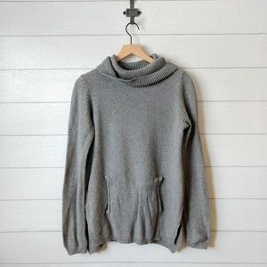 Lou & Grey Cotton Cowl Neck Pocket Front Sweater M
